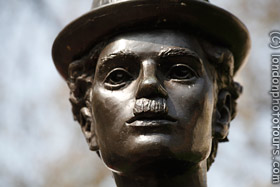 charlie chaplin statue leicester square london face
